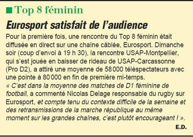 http://avenirdusport.com/Audience Rugby Femmes Top 8 samedi 24 janvier 2015