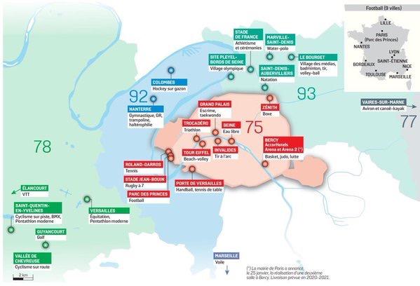 Paris 2024 JO plan des sites